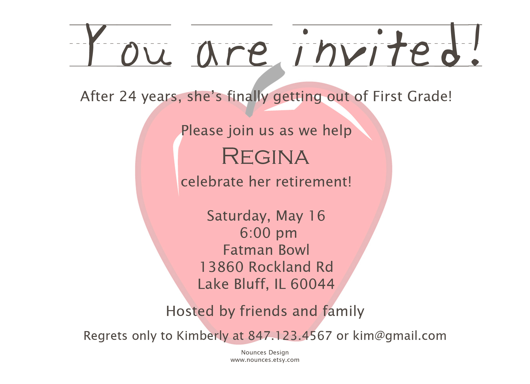 Retirement Invitations Teacher Nounces