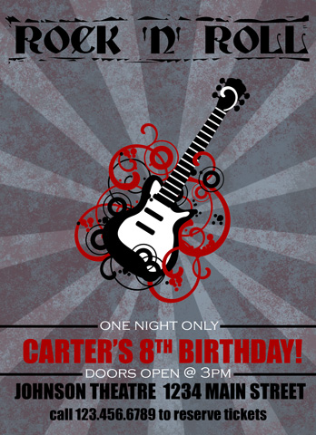 Rock N Roll Birthday Invitation