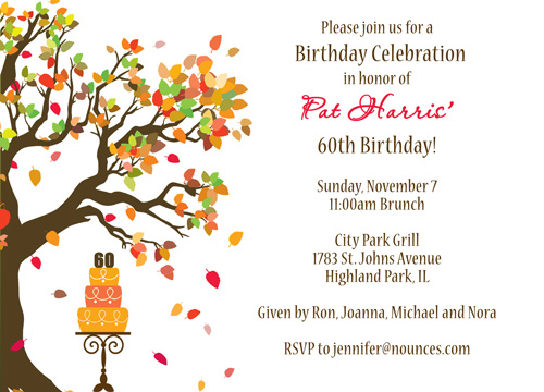 Fall birthday invitation nounces stay connected stopboris Gallery